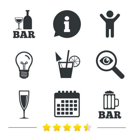 calendar icon: Bar or Pub icons. Glass of beer and champagne signs. Alcohol drinks and cocktail symbols. Information, light bulb and calendar icons. Investigate magnifier. Vector
