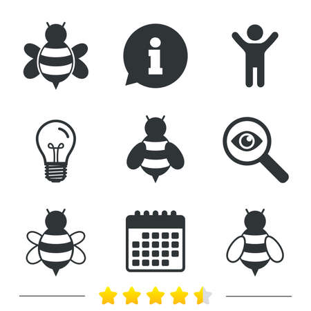 sting: Honey bees icons. Bumblebees symbols. Flying insects with sting signs. Information, light bulb and calendar icons. Investigate magnifier. Vector