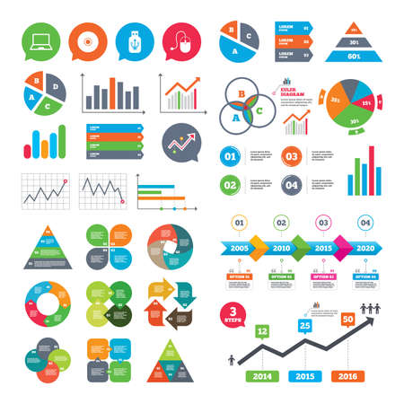 optical disk: Business charts. Growth graph. Notebook pc and Usb flash drive stick icons. Computer mouse and CD or DVD sign symbols. Market report presentation. Vector
