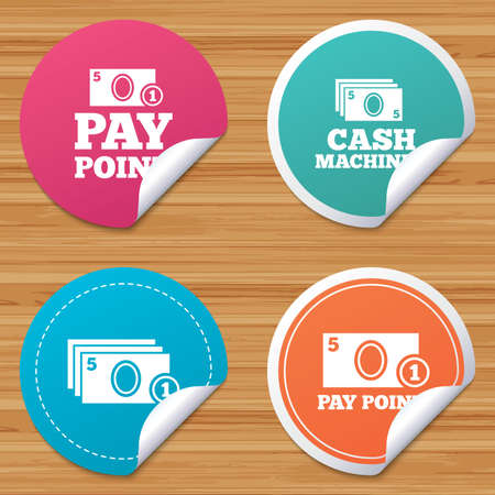 withdrawals: Round stickers or website banners. Cash and coin icons. Cash machines or ATM signs. Pay point or Withdrawal symbols. Circle badges with bended corner. Vector Illustration