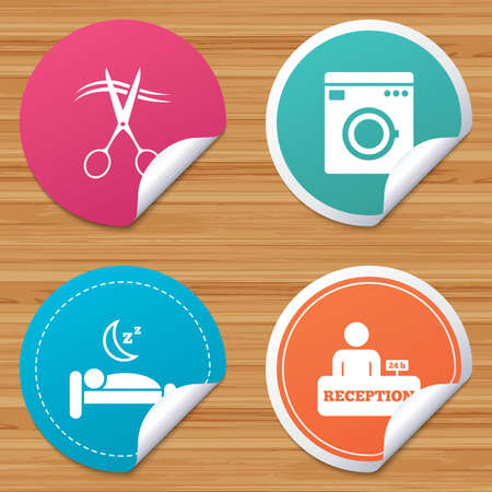 washhouse: Round stickers or website banners. Hotel services icons. Washing machine or laundry sign. Hairdresser or barbershop symbol. Reception registration table. Quiet sleep. Circle badges with bended corner