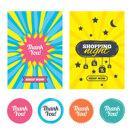 thanks a lot: Sale banners, online shopping. Thank you sign icon. Customer service symbol. Shopping night. Vector