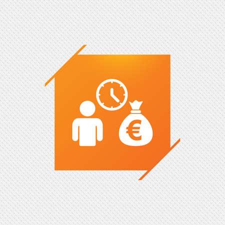borrow: Bank loans sign icon. Get money fast symbol. Borrow money. Orange square label on pattern. Vector