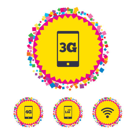 Web buttons with confetti pieces. Mobile telecommunications icons. 3G, 4G and LTE technology symbols. Wi-fi Wireless and Long-Term evolution signs. Bright stylish design. Vector Illustration