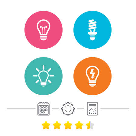 energy ranking: Light lamp icons. Fluorescent lamp bulb symbols. Energy saving. Idea and success sign. Calendar, cogwheel and report linear icons. Star vote ranking. Vector