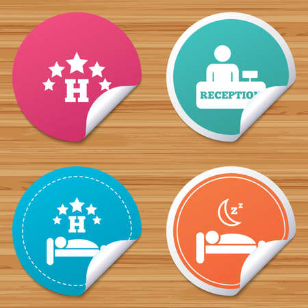 bended: Round stickers or website banners. Five stars hotel icons. Travel rest place symbols. Human sleep in bed sign. Hotel check-in registration or reception. Circle badges with bended corner. Vector