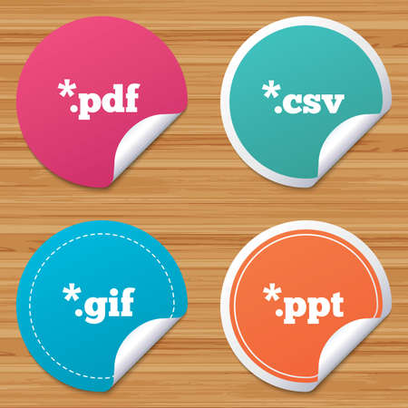 Round stickers or website banners. Document icons. File extensions symbols. PDF, GIF, CSV and PPT presentation signs. Circle badges with bended corner. Vector