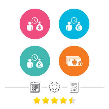 borrow: Bank loans icons. Cash money bag symbols. Borrow money sign. Get Dollar money fast. Calendar, cogwheel and report linear icons. Star vote ranking. Vector Illustration