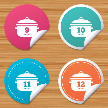 10 12: Round stickers or website banners. Cooking pan icons. Boil 9, 10, 11 and 12 minutes signs. Stew food symbol. Circle badges with bended corner. Vector