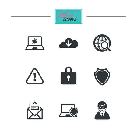 breakin: Internet privacy icons. Cyber crime signs. Virus, spam e-mail and anonymous user symbols. Black flat icons. Classic design. Vector Illustration