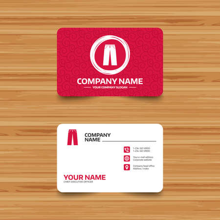 breeches: Business card template with texture. Mens jeans or pants sign icon. Casual clothing symbol. Phone, web and location icons. Visiting card  Vector