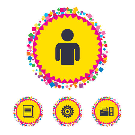 Web buttons with confetti pieces. Accounting workflow icons. Human silhouette, cogwheel gear and documents folders signs symbols. Bright stylish design. Vector Illustration