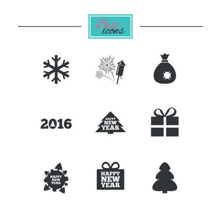 classic santa: Christmas, new year icons. Gift box, fireworks and snowflake signs. Santa bag, salut and rocket symbols. Black flat icons. Classic design. Vector