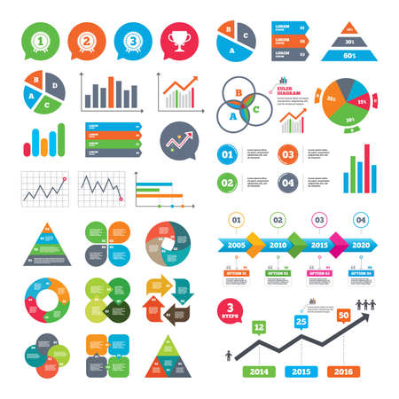 market place: Business charts. Growth graph. First, second and third place icons. Award medals sign symbols. Prize cup for winner. Market report presentation. Vector Illustration