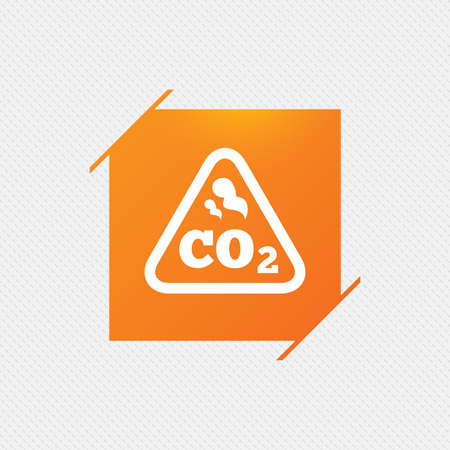 caution chemistry: CO2 carbon dioxide formula sign icon. Chemistry symbol. Orange square label on pattern. Vector