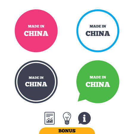 made in china: Made in China icon. Export production symbol. Product created in China sign. Report document, information sign and light bulb icons. Vector Illustration