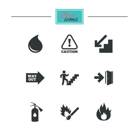 burn out: Fire safety, emergency icons. Fire extinguisher, exit and attention signs. Caution, water drop and way out symbols. Black flat icons. Classic design. Vector