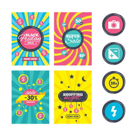 seconds: Sale website banner templates. Photo camera icon. Flash light and exposure symbols. Stopwatch timer 10 seconds sign. Ads promotional material. Vector