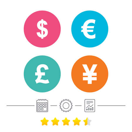 Dollar, Euro, Pound and Yen currency icons. USD, EUR, GBP and JPY money sign symbols. Calendar, cogwheel and report linear icons. Star vote ranking. Vector Illustration