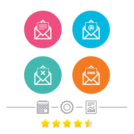 Mail envelope icons. Message document symbols. Post office letter signs. Delete mail and SMS message. Calendar, cogwheel and report linear icons. Star vote ranking. Vector Illustration