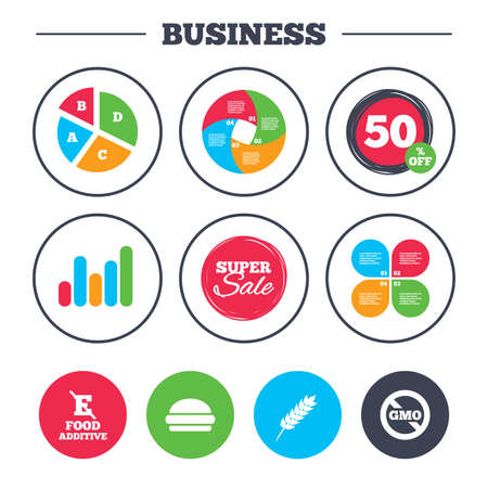 stabilizers: Business pie chart. Growth graph. Food additive icon. Hamburger fast food sign. Gluten free and No GMO symbols. Without E acid stabilizers. Super sale and discount buttons. Vector Illustration