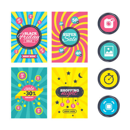 auto focus: Sale website banner templates. Hipster retro photo camera icon. Autofocus zone symbol. Stopwatch timer sign. Landscape photo frame. Ads promotional material. Vector