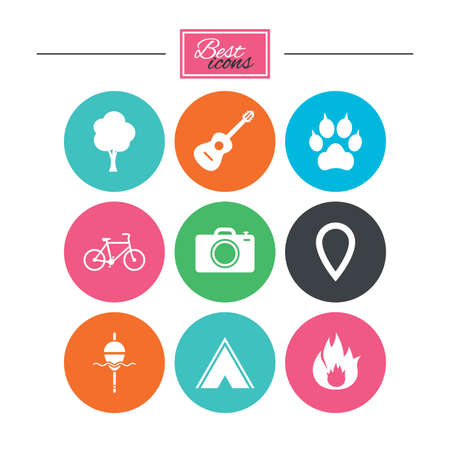 Tourism, camping icons. Fishing, fire and bike signs. Guitar music, photo camera and paw with clutches. Colorful flat buttons with icons. Vector Illustration