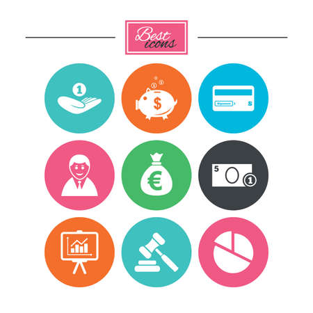 Money, cash and finance icons. Piggy bank, credit card and auction signs. Presentation, pie chart and businessman symbols. Colorful flat buttons with icons. Vector