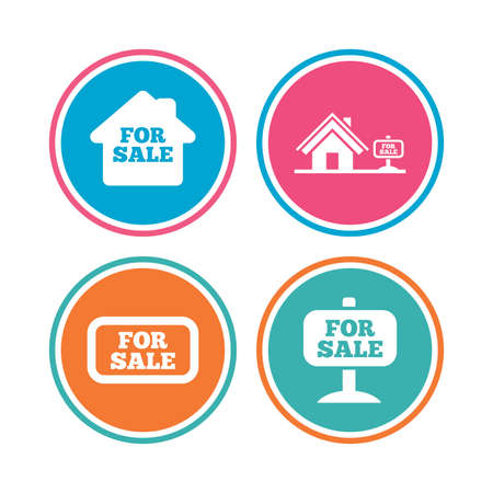 house for sale: For sale icons. Real estate selling signs. Home house symbol. Colored circle buttons. Vector