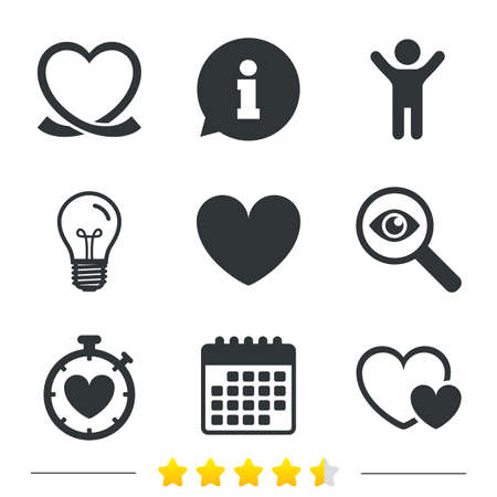 palpitation: Heart ribbon icon. Timer stopwatch symbol. Love and Heartbeat palpitation signs. Information, light bulb and calendar icons. Investigate magnifier. Vector Illustration