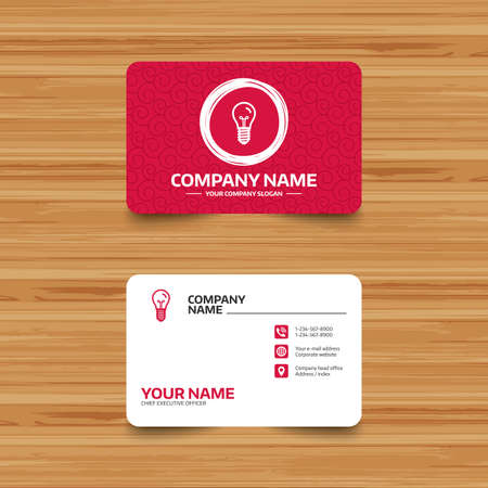 enchufe de luz: Business card template with texture. Light bulb icon. Lamp E14 screw socket symbol. Illumination sign. Phone, web and location icons. Visiting card  Vector Vectores