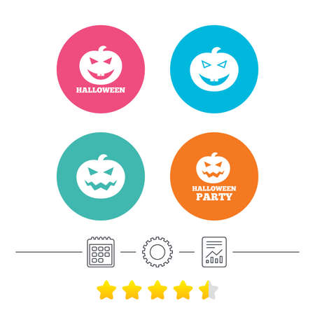 hallows: Halloween pumpkin icons. Halloween party sign symbol. All Hallows Day celebration. Calendar, cogwheel and report linear icons. Star vote ranking. Vector