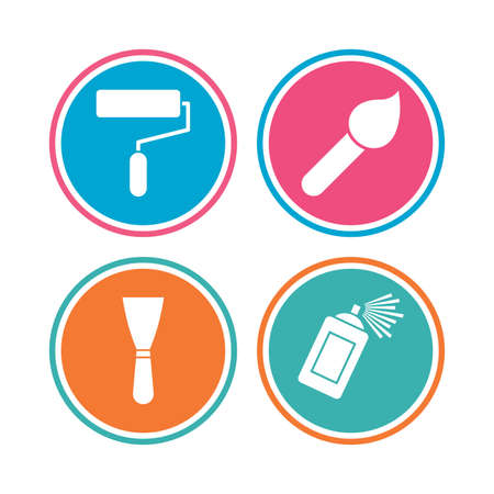 Paint roller, brush icons. Spray can and Spatula signs. Wall repair tool and painting symbol. Colored circle buttons. Vector Illustration
