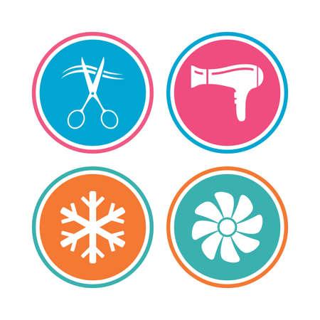 fiambres: Servicios de hoteles iconos. Aire acondicionado, Secador de pelo y ventilación en los signos de las habitaciones. Control climatico. Peluquería o barbería símbolo. botones de colores círculo. Vector