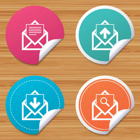 webmail: Round stickers or website banners. Mail envelope icons. Find message document symbol. Post office letter signs. Inbox and outbox message icons. Circle badges with bended corner. Vector Illustration