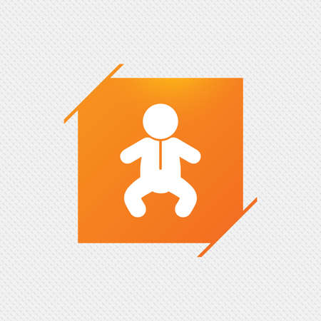 Baby infant sign icon. Toddler boy in pajamas or crawlers body symbol. Child WC toilet. Orange square label on pattern. Vector Illustration
