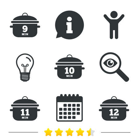 10 12: Cooking pan icons. Boil 9, 10, 11 and 12 minutes signs. Stew food symbol. Information, light bulb and calendar icons. Investigate magnifier. Vector Illustration