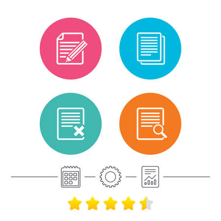 File document icons. Search or find symbol. Edit content with pencil sign. Remove or delete file. Calendar, cogwheel and report linear icons. Star vote ranking. Vector Illustration