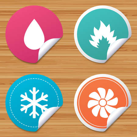 water supply: Round stickers or website banners. HVAC icons. Heating, ventilating and air conditioning symbols. Water supply. Climate control technology signs. Circle badges with bended corner. Vector