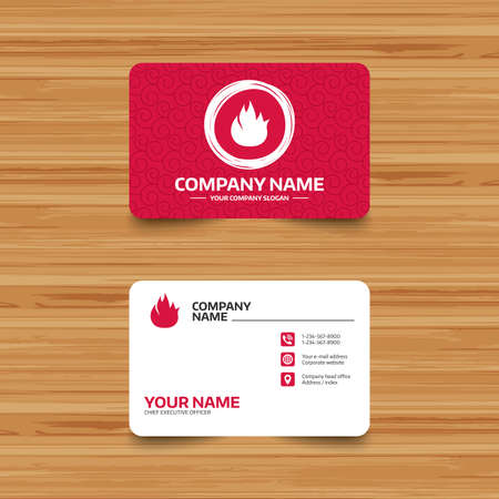 card stop: Business card template with texture. Fire flame sign icon. Fire symbol. Stop fire. Escape from fire. Phone, web and location icons. Visiting card  Vector
