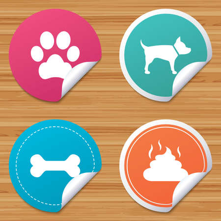 feces: Round stickers or website banners. Pets icons. Dog paw and feces signs. Clean up after pets. Pets food. Circle badges with bended corner. Vector Illustration
