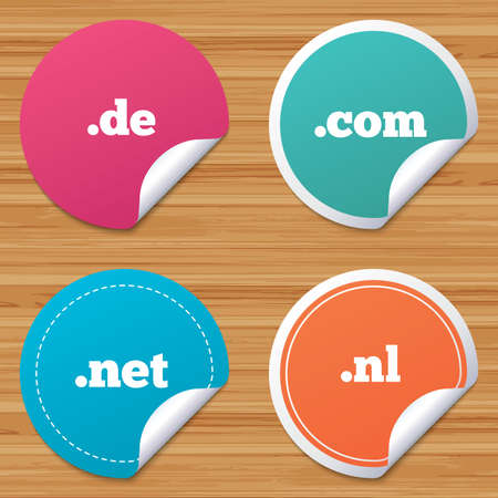 nl: Round stickers or website banners. Top-level internet domain icons. De, Com, Net and Nl symbols. Unique national DNS names. Circle badges with bended corner. Vector Illustration