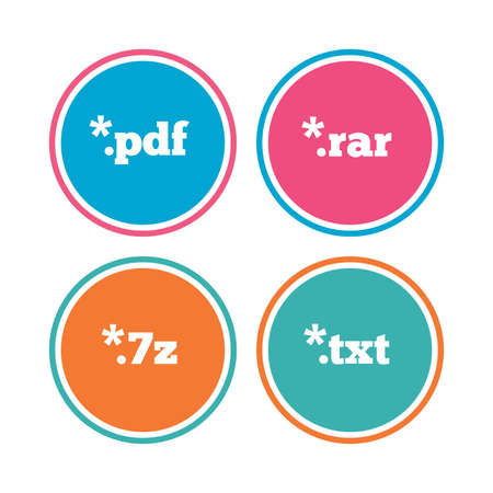 txt: Document icons. File extensions symbols. PDF, RAR, 7z and TXT signs. Colored circle buttons. Vector Illustration