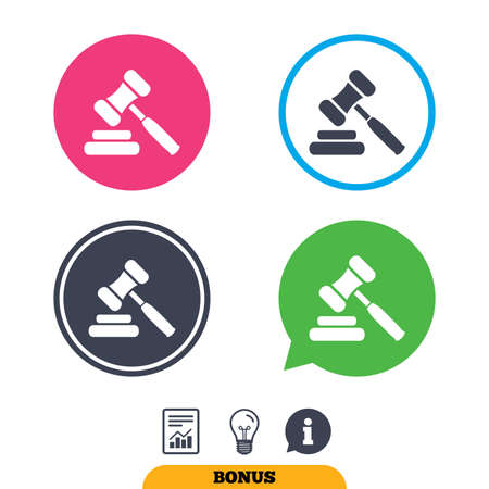 law report: Auction hammer icon. Law judge gavel symbol. Report document, information sign and light bulb icons. Vector Illustration