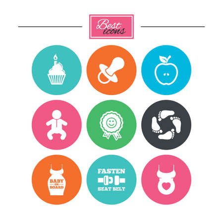 Pregnancy, maternity and baby care icons. Apple, award and pacifier signs. Footprint, birthday cake and newborn symbols. Colorful flat buttons with icons. Vector