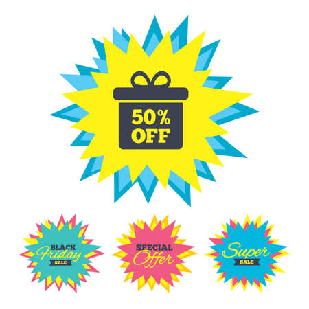 Sale stickers and banners. 50% sale gift box tag sign icon. Discount symbol. Special offer label. Star labels. Vector