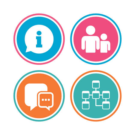relational: Information sign. Group of people and database symbols. Chat speech bubbles sign. Communication icons. Colored circle buttons. Vector Illustration