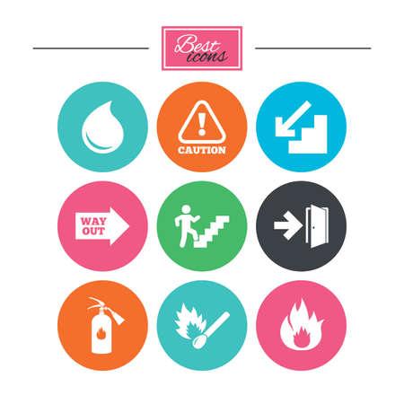 Brandveiligheid, noodsituatie pictogrammen. Brandblusser, afslag en aandacht signs. Let op, waterdruppel en uitweg symbolen. Kleurrijke platte knoppen met pictogrammen. Vector