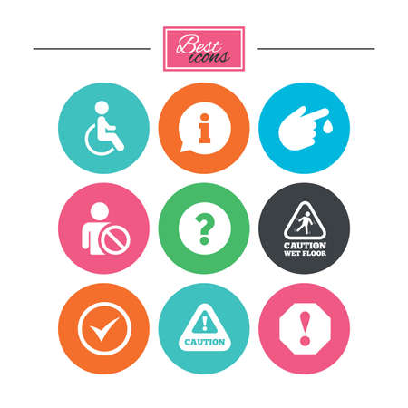 wet floor sign: Attention notification icons. Question mark and information signs. Injury and disabled person symbols. Colorful flat buttons with icons. Vector
