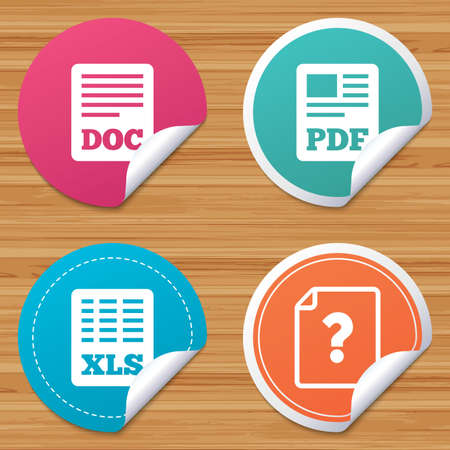bended: Round stickers or website banners. File document and question icons. XLS, PDF and DOC file symbols. Download or save doc signs. Circle badges with bended corner. Vector